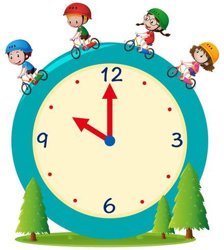 Enfants à vélo sur l'horloge géante vecteur