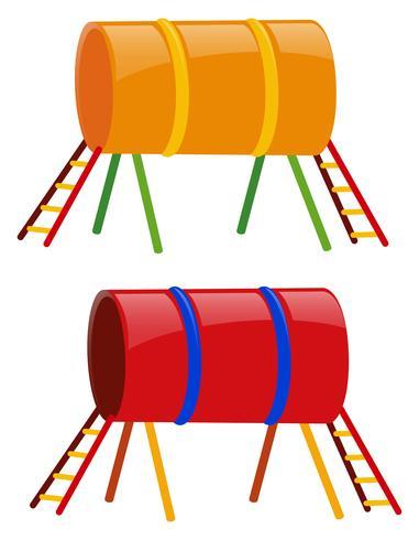 Deux tunnels en jaune et rouge vecteur