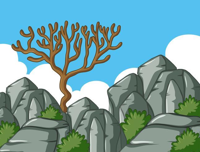 Scène avec arbre et rochers vecteur