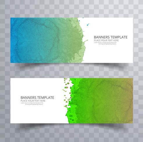 Belle en-tête aquarelle coloré doux set vector