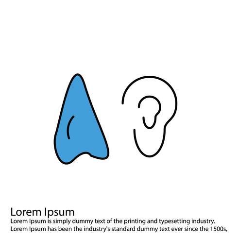 Icône d'oreille de vecteur