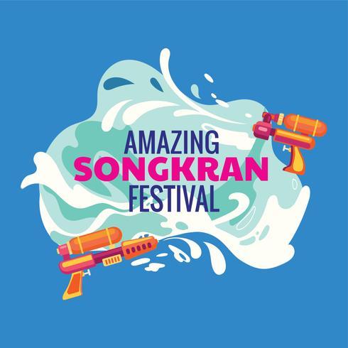 Festival Songkran de Thaïlande avec fond et pistolet à eau vecteur