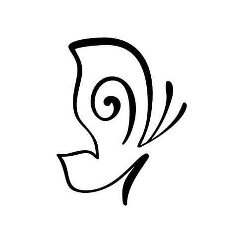Logo de calligraphie dessiné à la main du papillon. Concept cosmétique beauté. Élément de vecteur d'écologie. Illustration icône eco design pour mariage et vacances, carte de voeux