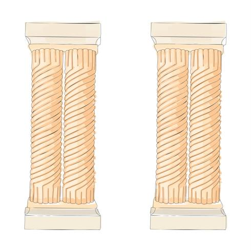 Doodle grecque colonnes ioniques corinthiennes coroniques Illustration vectorielle Architecture classique vecteur