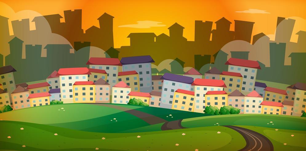 Scène de fond avec beaucoup de maisons dans le village vecteur