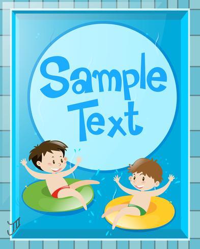 Conception de papier avec des enfants dans la piscine vecteur