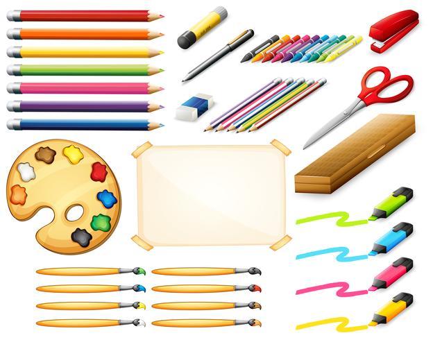 Set stationnaire avec des crayons de couleur et des objets d'art vecteur