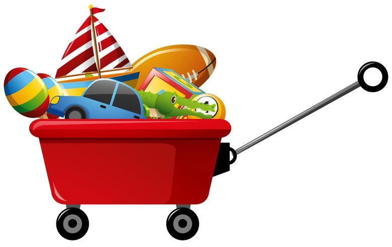 Wagon plein de jouets vecteur