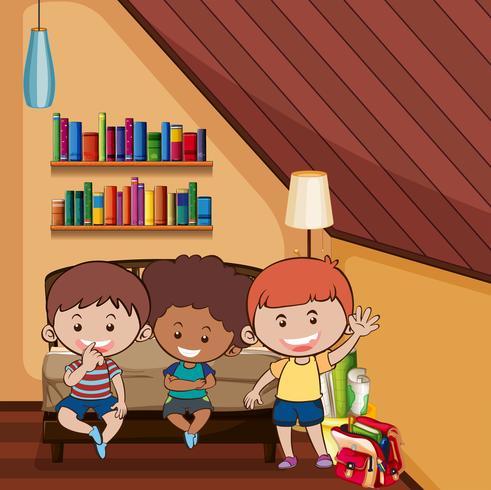 Trois enfants heureux dans la chambre vecteur