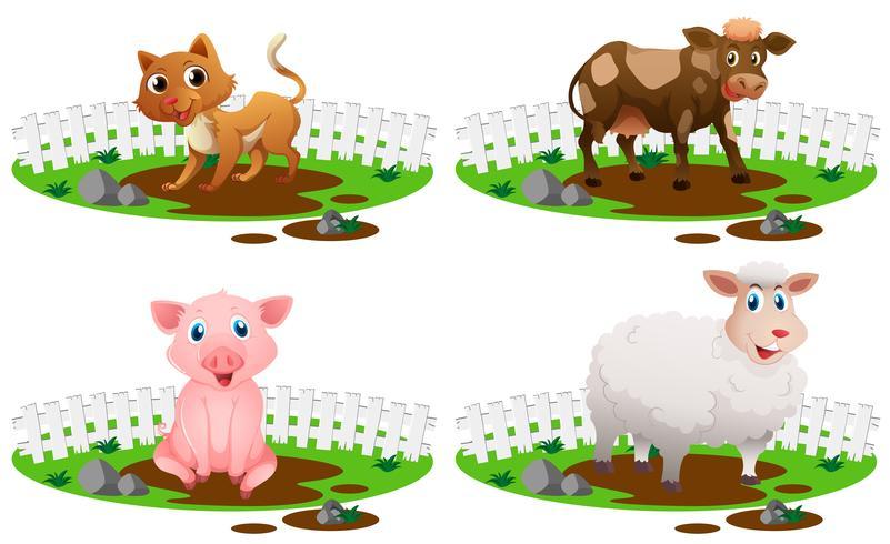 Quatre types d'animaux dans la boue vecteur