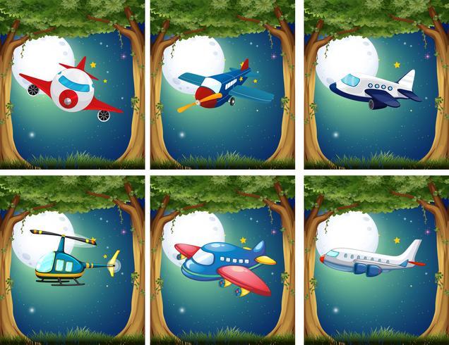 Avions et hélicoptères volant la nuit vecteur
