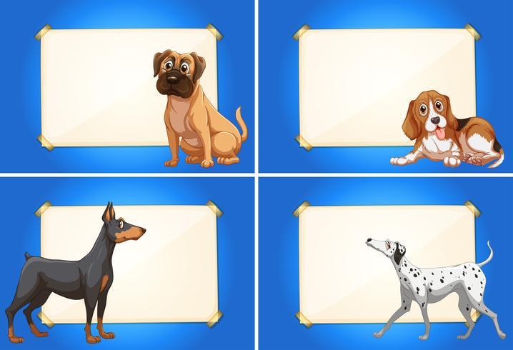 Quatre modèles de frontière avec des chiens mignons vecteur