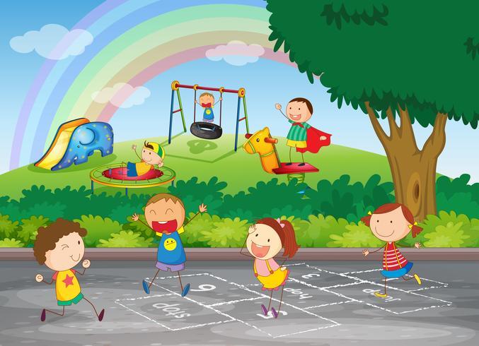 Un groupe d'enfants heureux vecteur