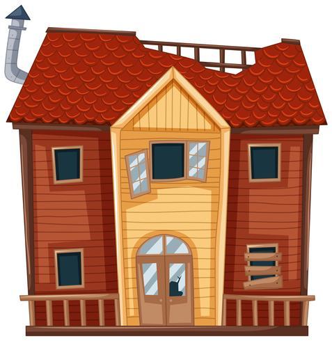Vieille maison de couleur rouge vecteur