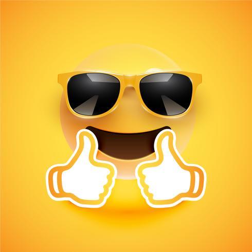 Émoticône réaliste avec lunettes de soleil et pouce en l'air, illustration vectorielle vecteur
