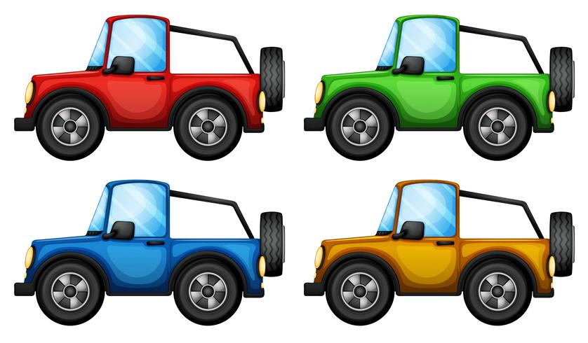 Quatre jeepneys colorés vecteur