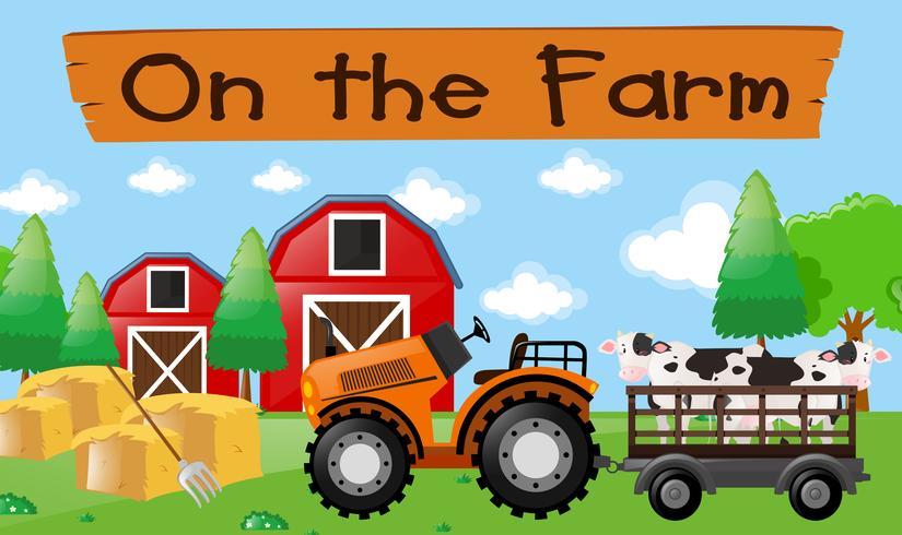 Thème de la ferme avec des vaches sur le tracteur vecteur