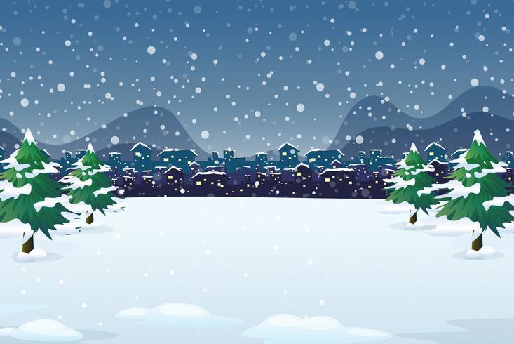 Un fond de nuit d'hiver vecteur