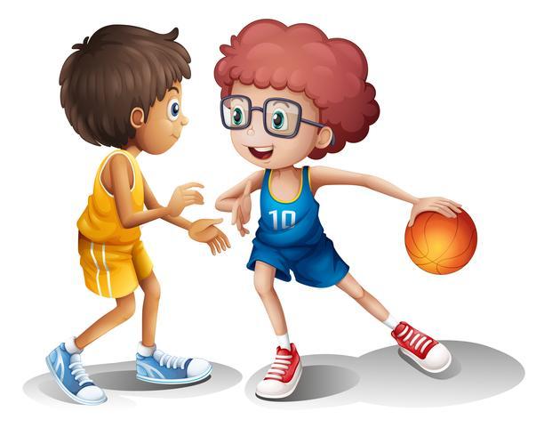 Enfants jouant au basket vecteur