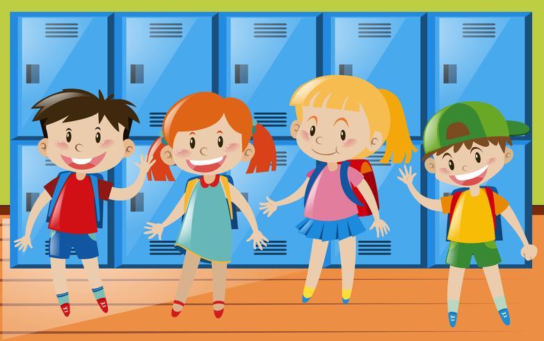 Quatre enfants dans le vestiaire vecteur