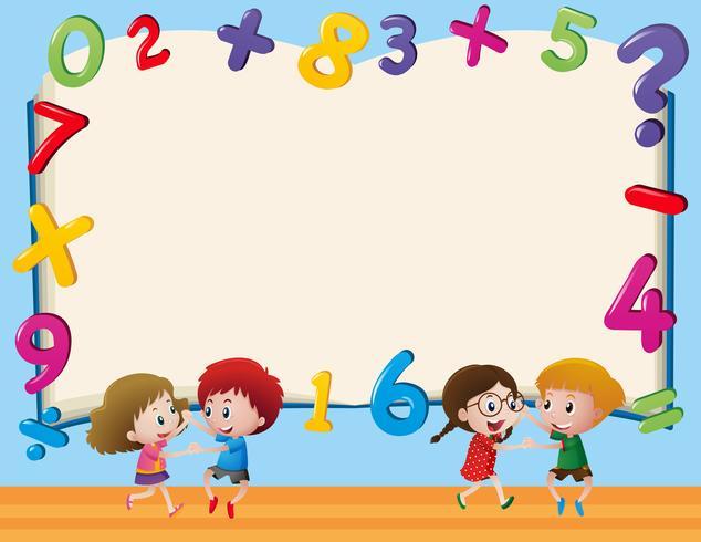 Modèle de bordure avec des enfants et des chiffres vecteur