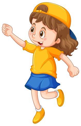 Fille en chemise jaune et chapeau vecteur