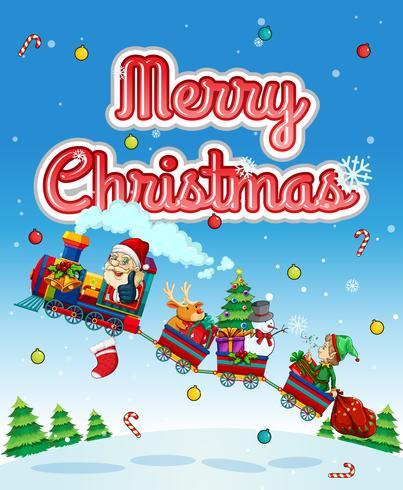 Joyeux Noël carte avec le père Noël dans le train vecteur
