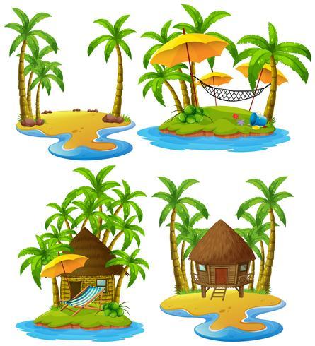 Quatre îles avec cabane en bois et cocotiers vecteur