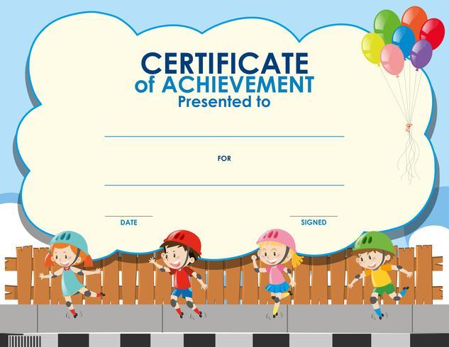 Modèle de certificat avec enfants patinage vecteur