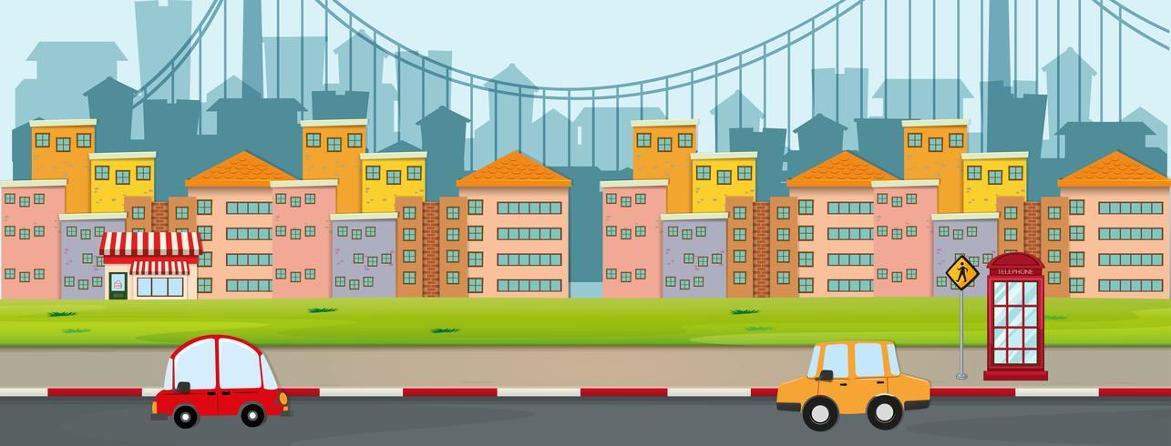 Scène avec des bâtiments et des voitures sur la route vecteur