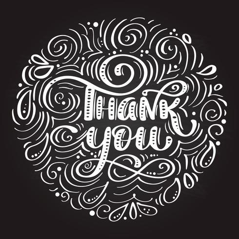Merci inscription manuscrite. Lettrage dessiné à la main. Merci calligraphie sur un tableau noir en forme de cercle vecteur