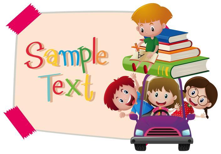 Modèle de papier avec des enfants en voiture violette vecteur