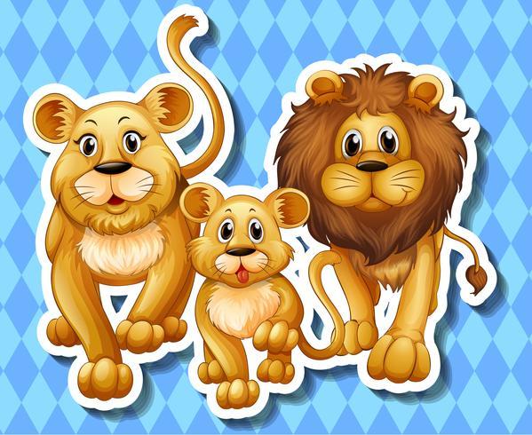 Famille de lion sur fond bleu vecteur