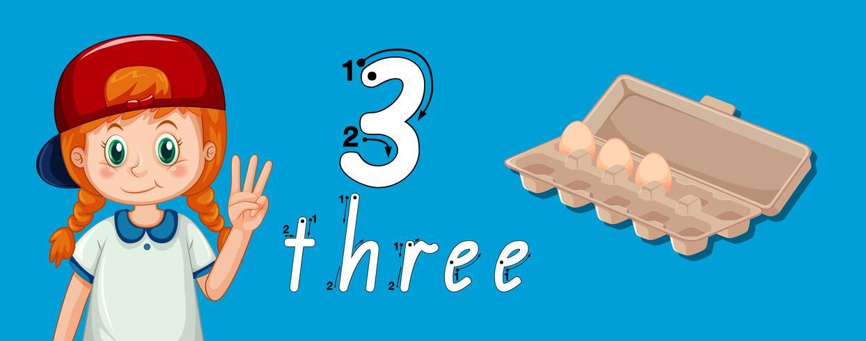 Guide de traçage numéro trois vecteur