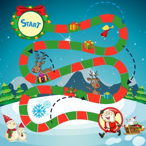 Modèle de jeu avec le père Noël et les rennes vecteur