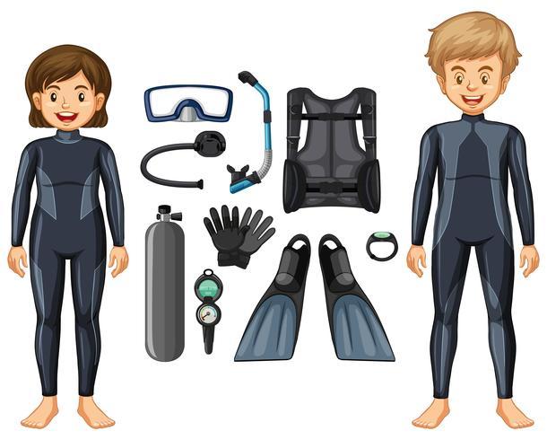 Les plongeurs en combinaison et différents équipements vecteur