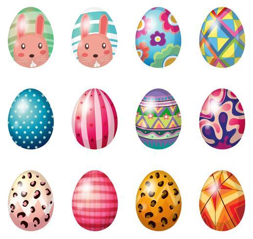 Oeufs de Pâques avec des dessins colorés vecteur