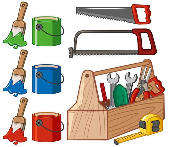 Boîte à outils et seaux de peinture vecteur