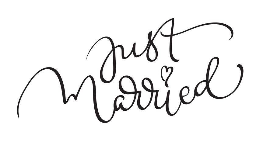 Just Married mots sur fond blanc. Lettrage de calligraphie dessiné à la main illustration vectorielle EPS10 vecteur