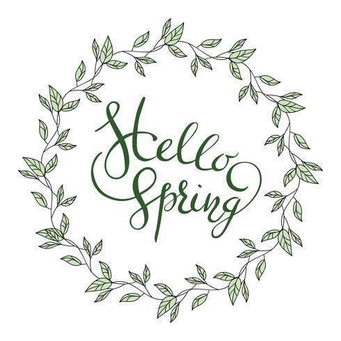 Mots Bonjour printemps avec guirlande de feuilles vecteur
