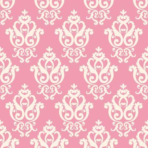 Motif damassé sans soudure. Texture rose dans le style royal riche vintage vecteur