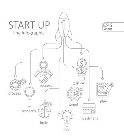 Concept de démarrage d'infographie vecteur