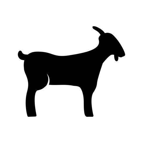 Icône de glyphe de chèvre noir vecteur