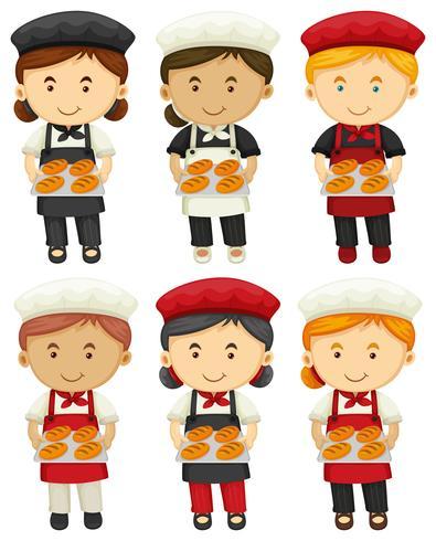 Boulangers masculins et féminins avec du pain cuit au four vecteur