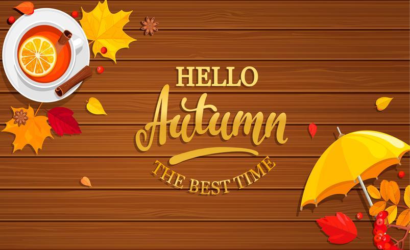 Bonjour bannière d'automne sur fond en bois. vecteur