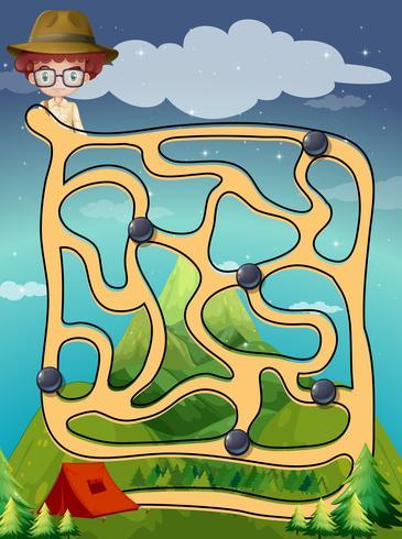 Modèle de jeu avec thème de camping vecteur