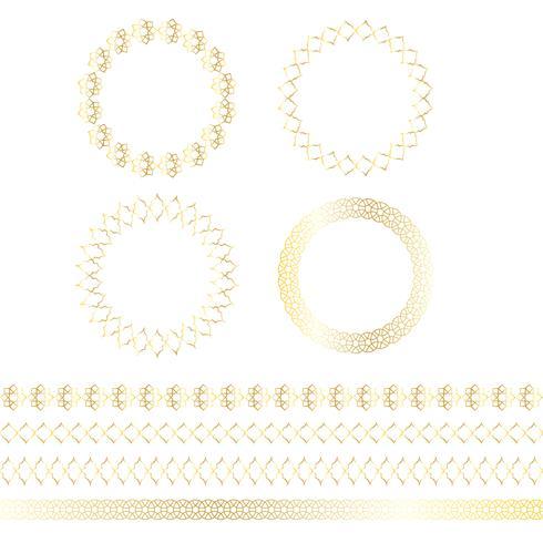 Cadres de cercle marocain et motifs de bordure vecteur