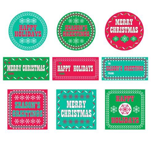 étiquettes de cadeau de vacances rétro vecteur