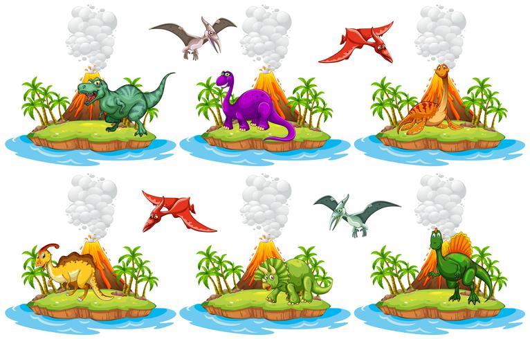 Dinosaures vivant sur l'île vecteur