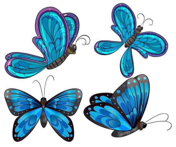 Quatre papillons vecteur